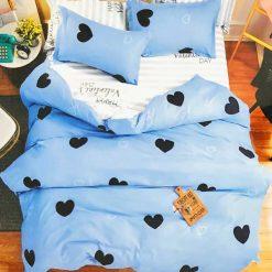 Violet® Türkizkék Szíves ágyneműhuzat garnitúra Fekete szívekkel 7 részes ágyneműhuzatok
