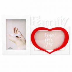 FAMILY szívecskés asztali képkeret – fehér/piros